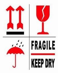 Gevaren etiketten pijlen/fragile/keep dry