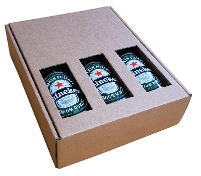 182*240*60mm Bierdoos 3 fles zonder biervilten